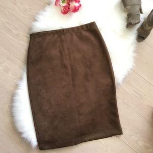 BCBG Max Azria Faux Suede Midi Skirt